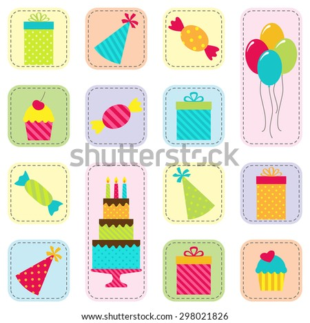 Vector seamless birthday party pattern with cake, balloons, presents, hats and sweets. Set of festive and holiday icons on white background - stock vector