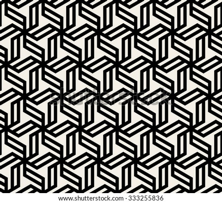 Vector Seamless Black And White Abstract Geometric Hexagonal Lines Pattern Background