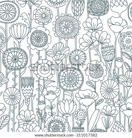 vector seamless black and white background of wildflowers doodles - stock vector