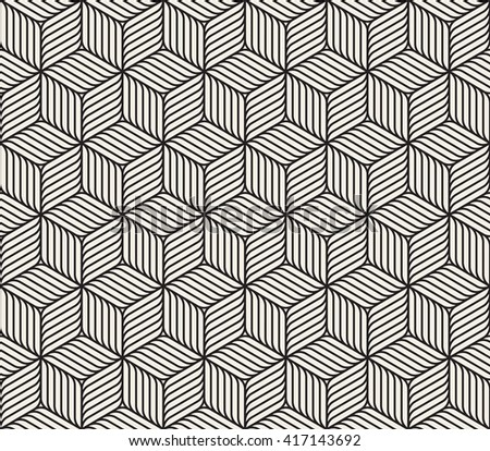 Vector Seamless Black And White Cube Shape Lines Geometric Pattern Abstract Background - stock vector