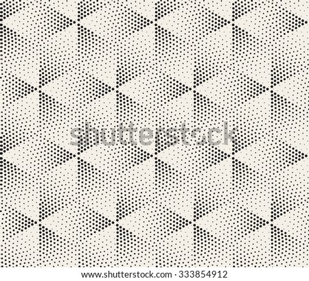 Vector Seamless Black and White Dot Stippling Geometric Rhombus Cube Pattern Abstract Background - stock vector