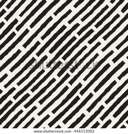 Vector Seamless Black and White Hand Drawn Diagonal Lines Pattern. Abstract Freehand Background Design - stock vector