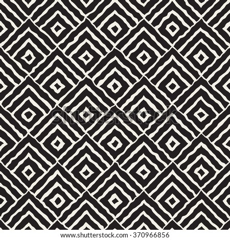 Vector Seamless Black And White Hand Painted Line Concentric Rhombus Shape Pattern Abstract Background