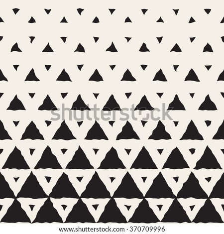 Vector Seamless Black And White Hand Painted Line Geometric Triangles Halftone Gradient Pattern Abstract Background - stock vector