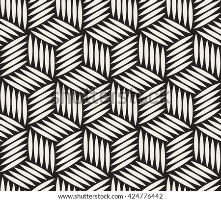 Vector Seamless Black and White Hexagonal Lines Geometric Pattern Abstract Background - stock vector