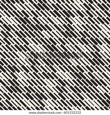 Vector Seamless Black And White Irregular Dash Rectangles Grid Pattern. Trendy Monochrome Texture. Abstract Geometric Background Design