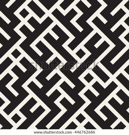 Vector Seamless Black and White Maze Lines Pattern. Abstract Geometric Background Design - stock vector