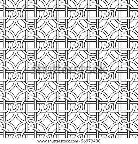 Vector seamless black and white pattern - stock vector