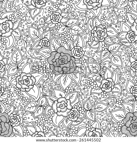 vector seamless black and white pattern of spirals, swirls, doodles - stock vector