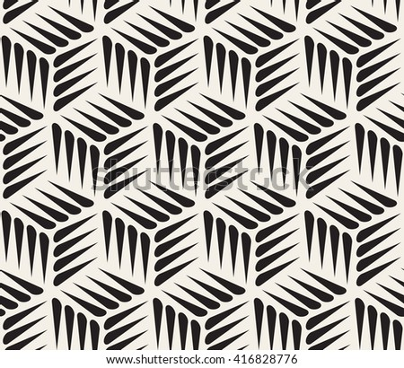 Vector Seamless Black and White Thorn Shape Cubic Geometric Pattern Abstract Background - stock vector