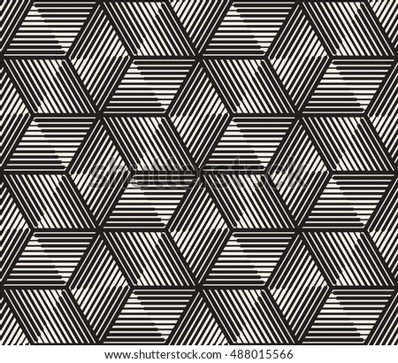 Vector Seamless Black and White Triangle Lines Grid Pattern. Abstract Geometric Background Design
