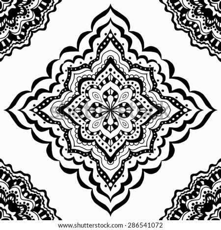 Vector seamless black pattern. Isolated on white - stock vector
