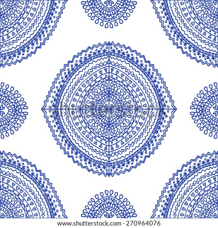 Vector seamless blue pattern. Isolated on white - stock vector