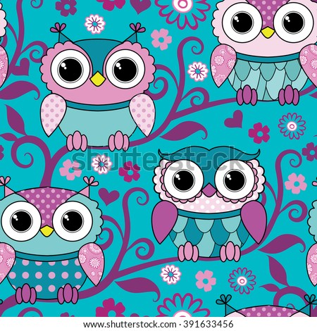 Vector seamless blue pattern with owls. Pink owls on tree.  - stock vector