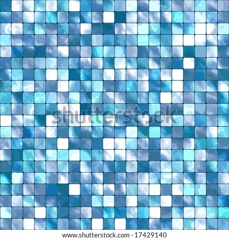 Vector Seamless Blue Tiles Background, See Also Jpeg In My Portfolio - stock vector