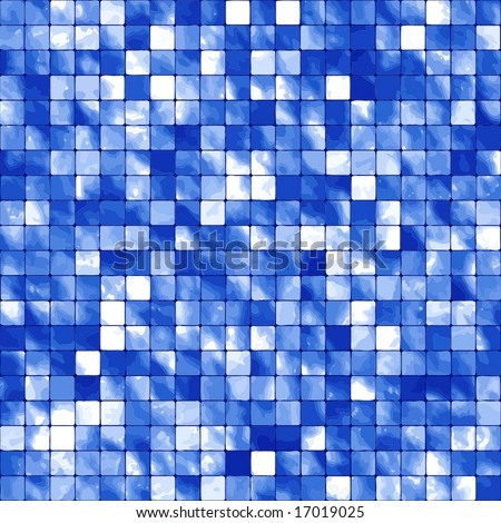 Vector Seamless Blue Tiles Background, See Jpeg Also In My Portfolio