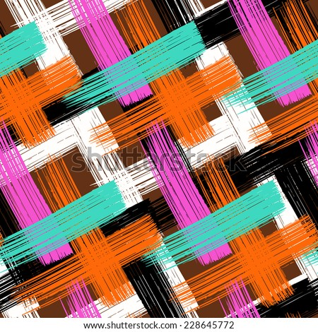 Vector seamless bold plaid pattern with wide brushstrokes and thin stripes hand painted in bright multiple variety of colors brown, orange, pink, black, white, turquoise for fall winter retro fashion - stock vector
