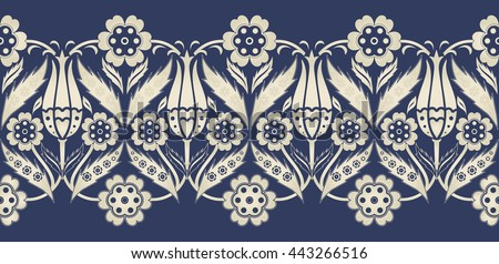 Vector seamless  border in Eastern style.  Ornament for wedding invitations, birthday and greeting cards. Endless turkish  pattern can be used for ceramic tile, wallpaper,  web page background - stock vector