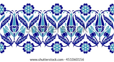 Vector seamless  border in Eastern style.  Ornament for wedding invitations, birthday and greeting cards. Endless turkish colorful pattern can be used for ceramic tile, wallpaper,  web page background - stock vector