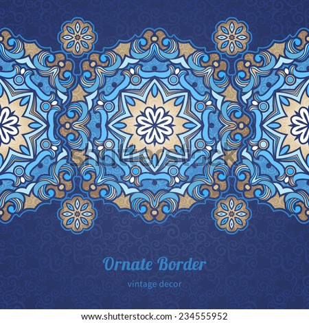 Vector seamless border in Eastern style. Vintage element for design with circle ornaments. Ornamental floral pattern for wedding invitations, greeting cards. Traditional  decor on blue background. - stock vector