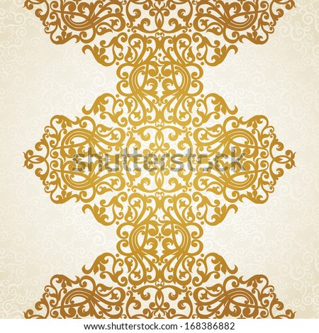 Vector seamless border in Victorian style. Element for design. You can place the text on empty frame. It can be used for decorating of invitations, greeting cards, decoration for bags and clothes. - stock vector