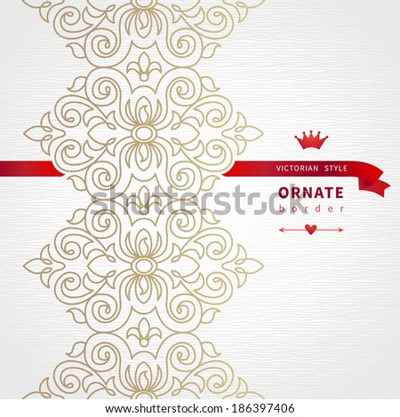 Vector seamless border in Victorian style with hipsters label. Ornate element for design. Place for text. Ornamental pattern for wedding invitations, greeting cards. Traditional decor. - stock vector