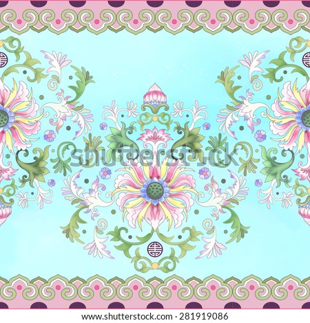 Vector seamless border on watercolor background. Imitation of chinese porcelain painting. Lotus flowers and leaves are painted by watercolor.   - stock vector