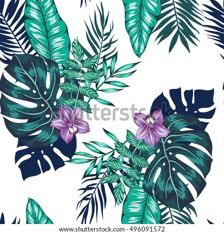 vector seamless bright artistic tropical pattern with palm leaves, philodendron leaf, monstera, orchid flower. modern colorful tropics background allover print