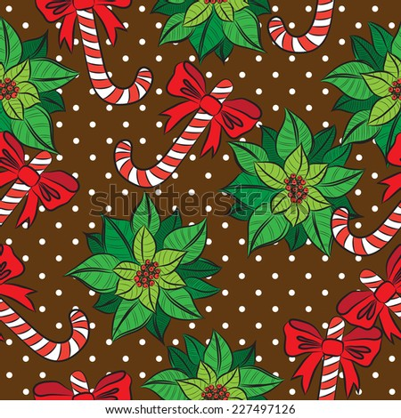 Vector seamless brown  background, Christmas and New Year's decorative elements contour.  Suitable for various designs, invitation, thank you card, wrapping paper pattern and scrapbook. Vector 10 EPS - stock vector