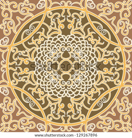 vector seamless brown traditional floral pattern background
