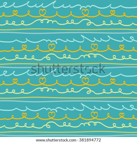Vector seamless calligraphic pattern with hand drawn doodle lines in orange, olive green and blue colors. Dynamic striped print for spring summer sportswear, fashion, decoration. Frames, borders set. - stock vector