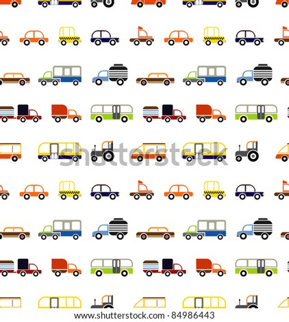 Vector seamless cars - isolated objects on white background. - stock vector
