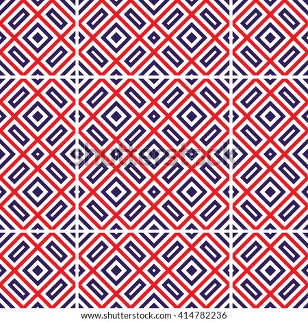 Vector Seamless Ceramic pattern. Squares pattern. Oriental Pattern. Ethnic pattern.  Zigzag background. Abstract Blue and Red background. Geometric backdrop. Tiled pattern. Vector Regular texture.