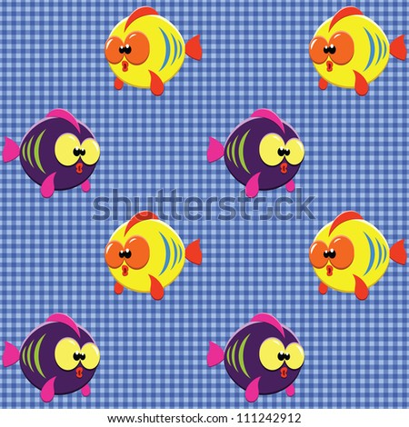Vector seamless checked blue pattern with funny cartoon fishes. - stock vector