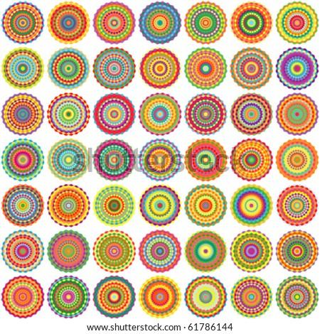 Vector seamless checkered circles background - stock vector