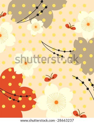 Vector seamless cherry blossom pattern with little butterfly