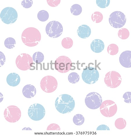 Vector seamless childish pattern with polka dot. Grunge style, shabby street art imitation. Vintage old paper texture. - stock vector