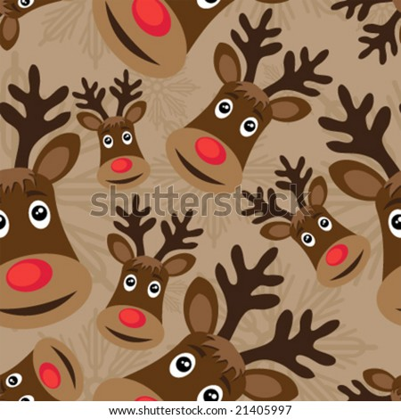 vector seamless christmas pattern with rudolph