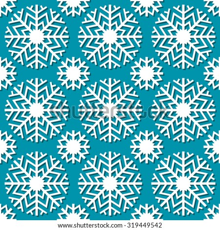 Vector seamless christmas pattern with snowflakes. Cute geometric blue background. Winter simple illustration. Ornamental decorative texture for print, web