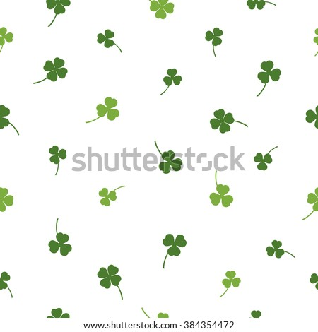 Vector seamless clover pattern. Clover pattern with three leaf. Chaotic clover pattern. Clover pattern with four leaf. Clover pattern for Saint Patrick's Day. - stock vector