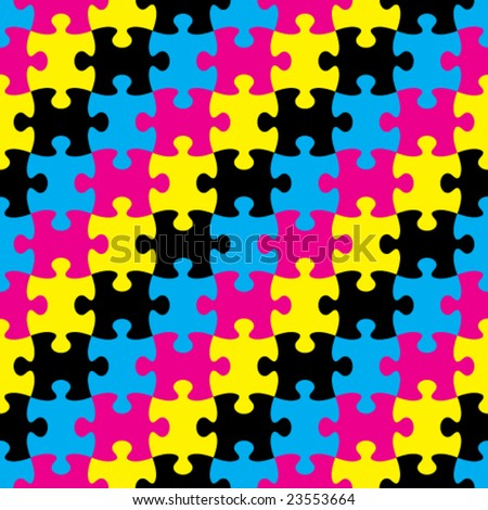 Vector Seamless CMYK Puzzle Pattern - stock vector