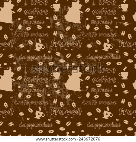Vector seamless coffee pattern with coffee mill cup and text
