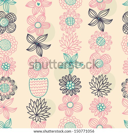 Vector seamless colorful floral pattern - stock vector