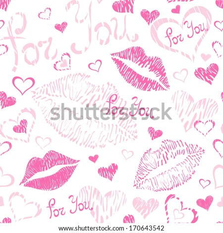 Vector seamless colorful pattern background. Abstract illustration with hearts, lipstick kisses, and text: For You.  - stock vector