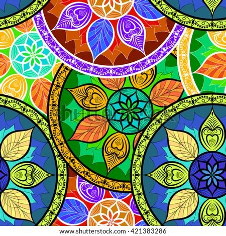 Vector Seamless Colour Mandala Pattern - stock vector