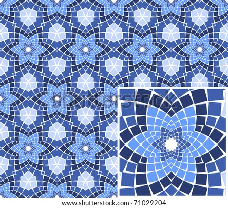 Vector seamless colourful ornamental background made of mosaic. - stock vector