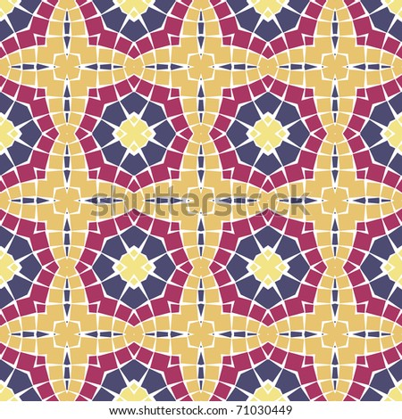 Vector seamless colourful ornamental background made of mosaic.