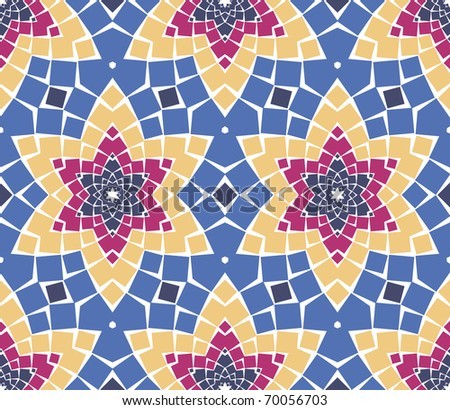 Vector seamless colourful ornamental background made of mosaic. See MORE VECTOR BACKGROUNDS in my portfolio. - stock vector