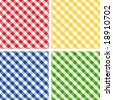 vector - Seamless Cross weave Gingham Pattern Tiles: red, yellow, green, blue. EPS8 includes 4 pattern swatches (tiles) that will seamlessly fill any shape. - stock photo