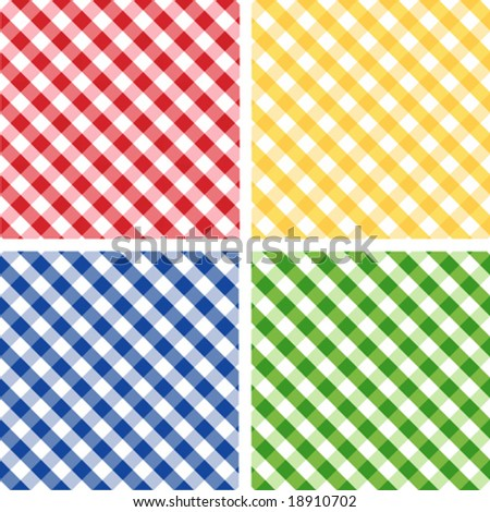 vector - Seamless Cross weave Gingham Pattern Tiles: red, yellow, green, blue. EPS8 includes 4 pattern swatches (tiles) that will seamlessly fill any shape. - stock vector